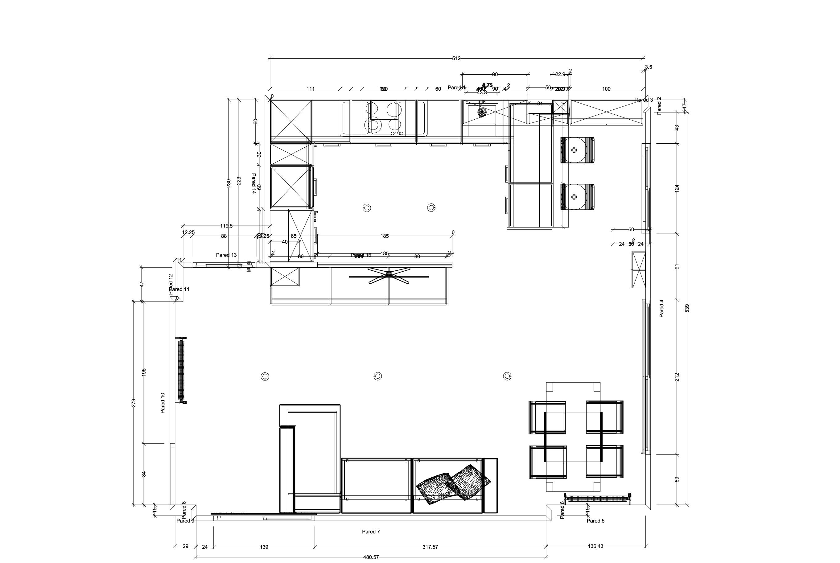 Plano de una cocina finest perfect plano cocina for Plano de una cocina profesional